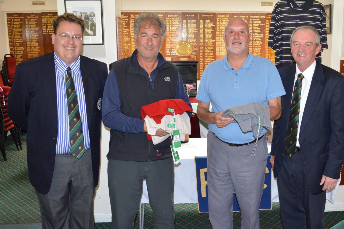 Nick Rogers Falmouth P.G.A. Professional. Keith Popperwell. Brian Craig and Seniors Captain Peter Brierley.