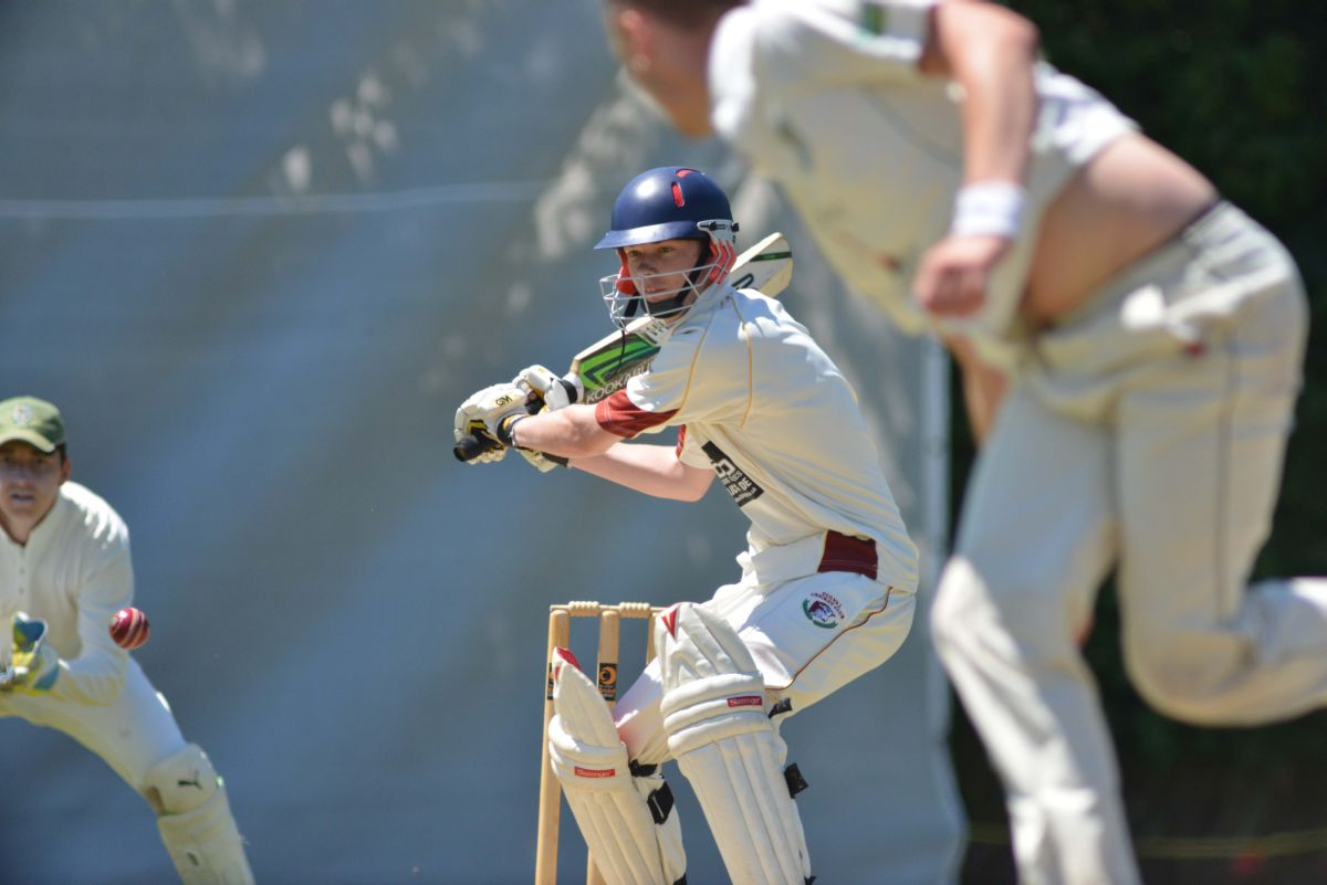 Gulval opener Ben Ellis looking to play a shot off Ben Mitchell's bowling. Pic: CORNISHPHOTOS