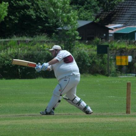 Stithians batsman Ben Tann on his way to 104 not out. Picture: CORNISHPHOTOS