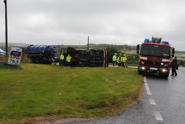 Tanker overturns on main Falmouth to Helston road: PICTURE