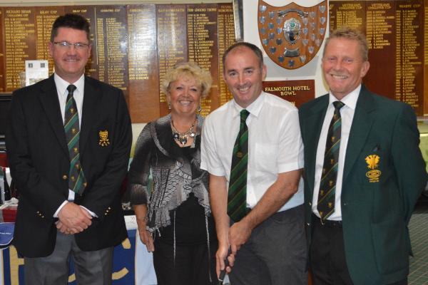 Paul Caunter (second right) receives his putter with Falmouth Golf Course president Terry Dickinson, ladies captain Sue Short and club captain Lucien Trathen watching on