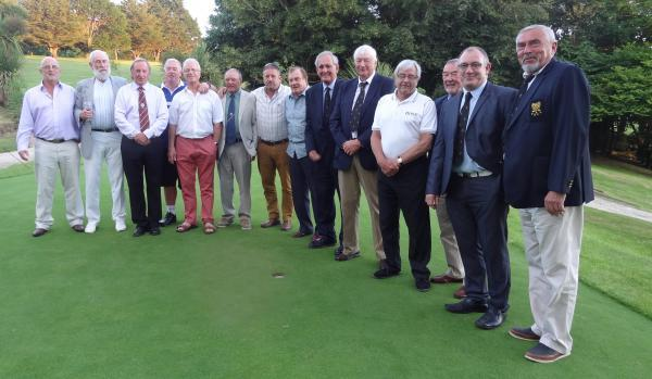 Ex-Budock Vean captains and presidents with the club's current leaders. They returned to the course to mark its 50th birthday