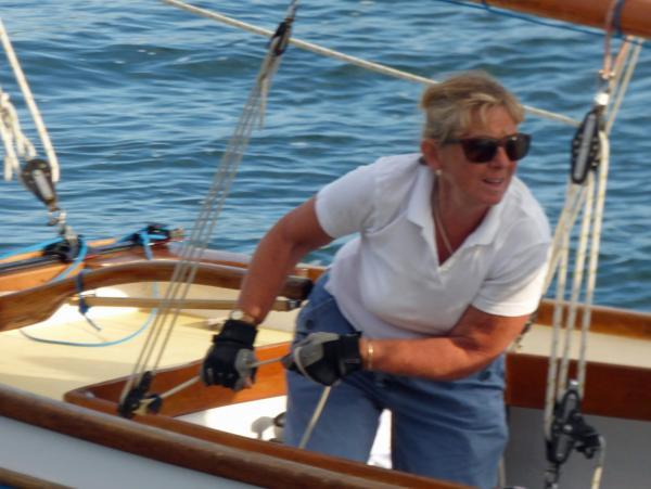 Sue Grigg onboard Katy in the G class