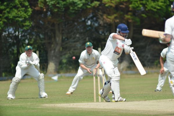 Kieran Rodda gets ready to take one of four catches he claimed behind the stumps for Falmouth. Picture: CORNISHPHOTOS