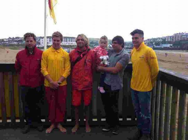 Phoebe Griffith meets the lifeguards that saved her life at Perranporth