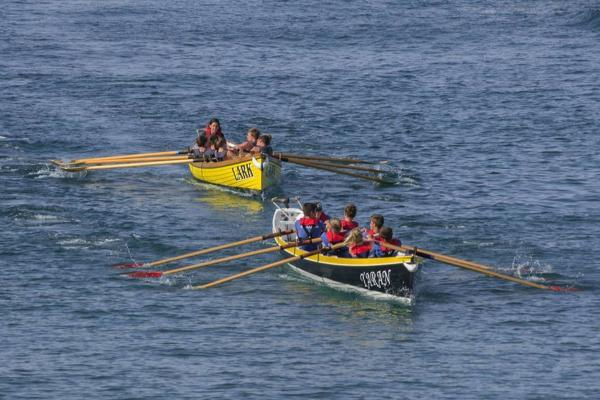 Coverack's A crew onboard Lark chase Caradon's A team