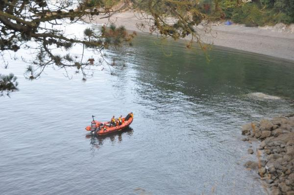 RNLI crew search off Durgan. Picture David Barnicoat