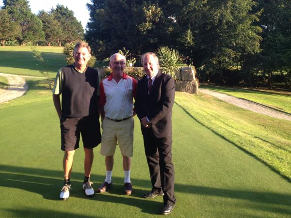 Rob Bryant and Andrew Varney with Budock Vean's captain Paul Upperton