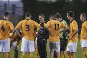 Wayne Hughes gives a team talk. Whether he will be doing this again next season for Falmouth Town is still unknown