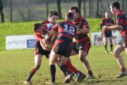 Penryn Saracens players do their best to stop an opponent. Picture: CORNISHPHOTOS