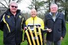 L-R: Porthleven's secretary Vidal James, Phil Kellow and club chairman Jan Cowls