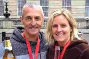 Rich Savage and Faye Toms have a well earned beer after the London Marathon