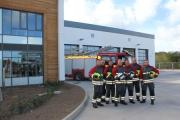 CPR Station Manager Mark Salter (centre) at the new station with firefighters from Blue Watch Camborne who will be among those to be based at the new building