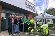 Steve Hargreaves and Mayor of Truro Lorrie Eathorne-Gibbons with St John Ambulance volunteers outside their new headquarters