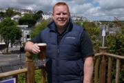 Landlord Simon Fudge in The Mason's Arms' new beer garden