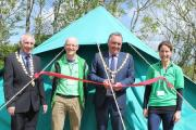 Deputy mayor Grenville Chappel, BF Adventure chief executive Adrian Richards, Falmouth mayor John Body, and BF Adventure marketing coordinator Clare Davison