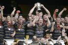 Cornwall's players celebrate as they lift the trophy at Twickenham. Picture: SIMON BRYANT/ITKIS PHOTO
