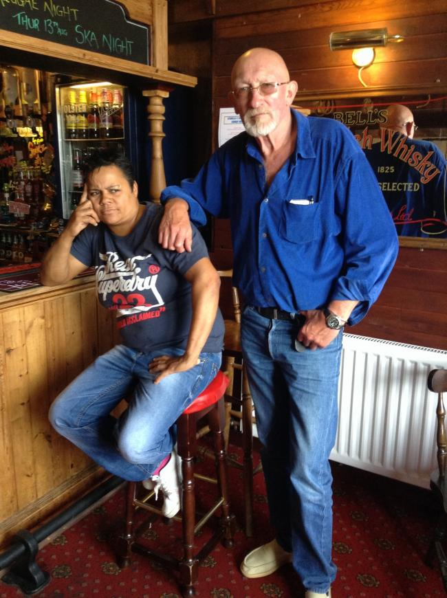 Landlady Jess Stunnell with friend Al Cazu in the Cutty Sark pub. Picture Sophie Sweatman