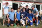 Have I got Poos For Yoy celebrate winning the tournament with Mark Greet, Ben's son (top left)