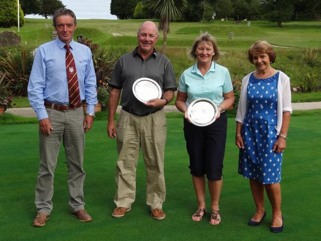 L-R: Club captain David Tippett, John Rule, Sue Rule and ladies captain Nina Hann