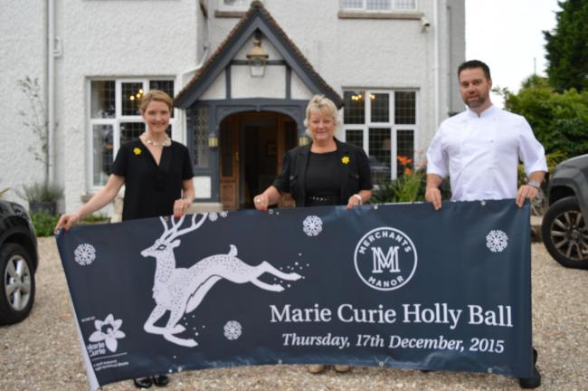 Merchant Manor's co-owner Sioned Parry-Rudlin with Marie Curie's Lynda Thomas and executive chef, Dale McIntosh