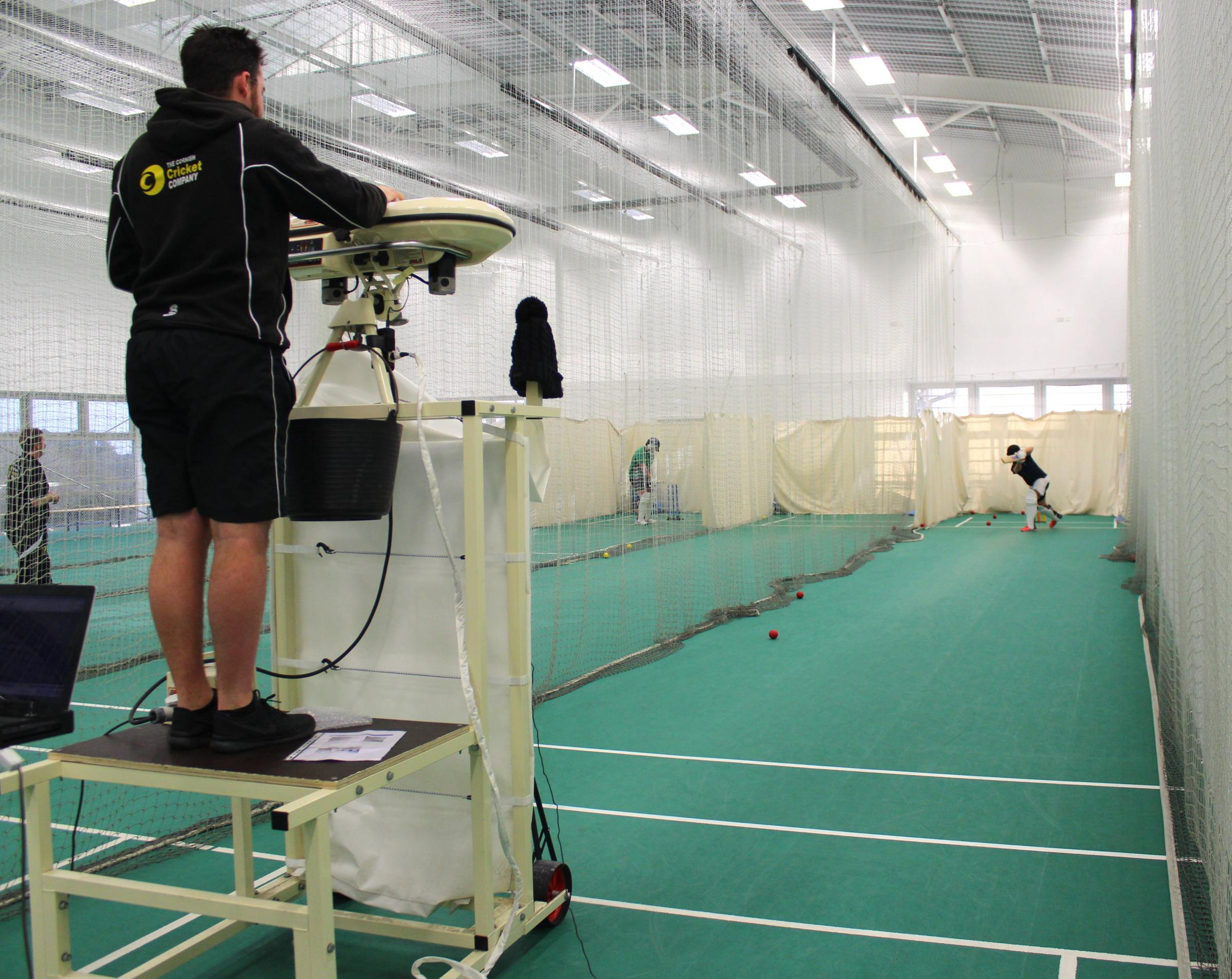 : A Cricket Academy student testing out the new cricket analysis equipment at Truro College. (53390775)