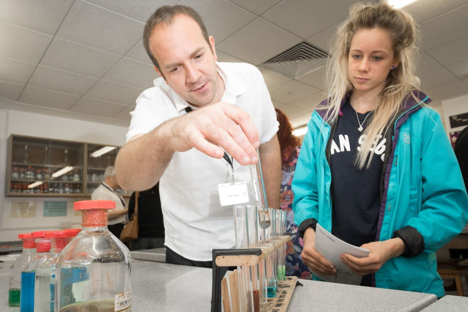 Chemistry lecturer Chris Hutton with Katie Hughes on her visit to the Truro College Open Day. (57573715)