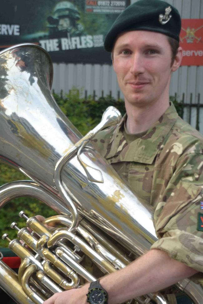 Nathan Tootill with his tuba