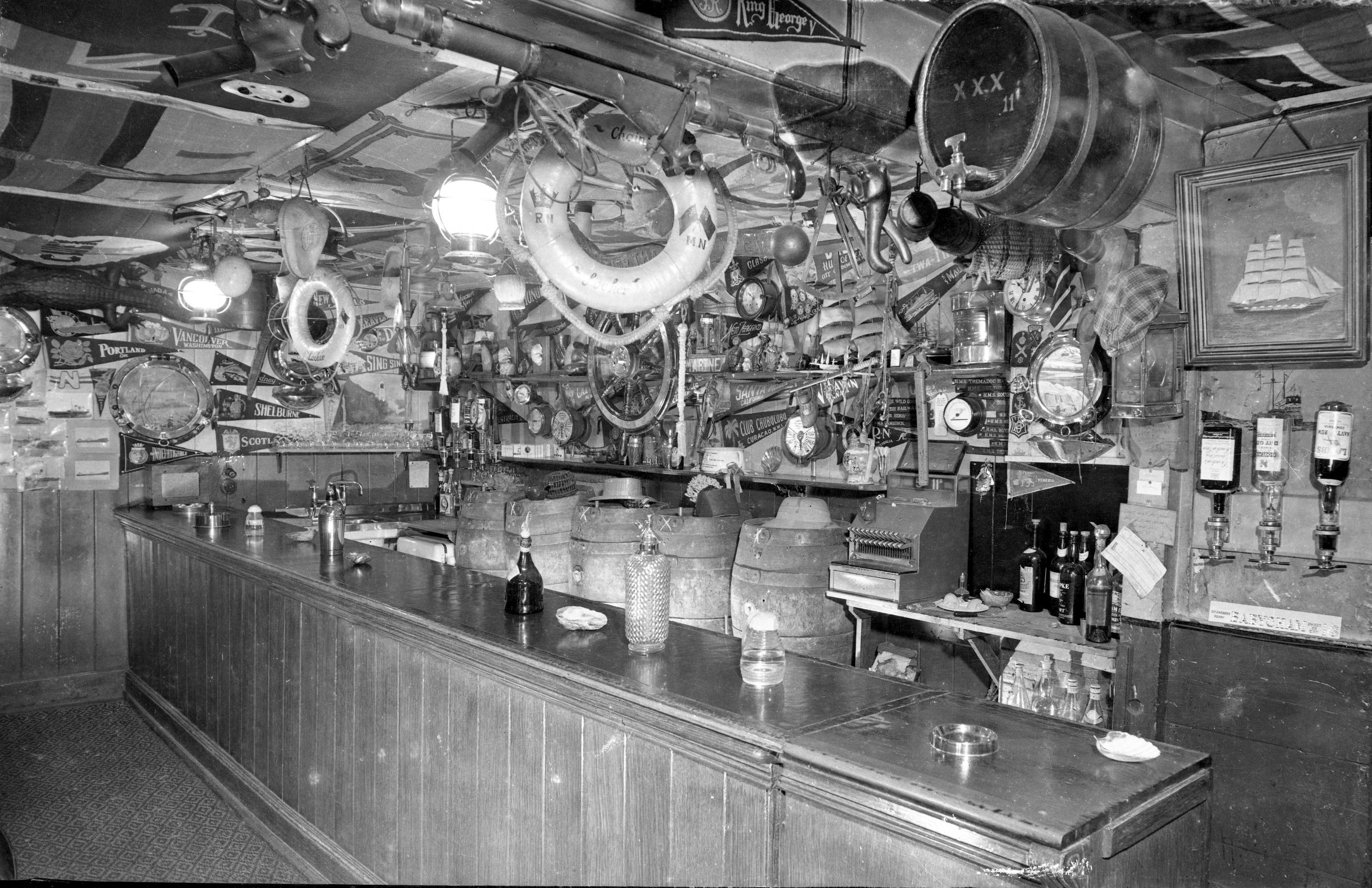 Chain Locker bar in the 1960's a treasure trove of nautical curios
