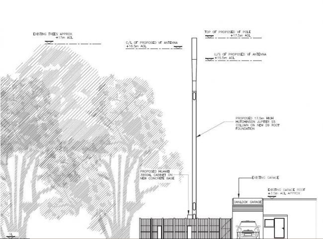 The proposed mast will just overtop nearby trees