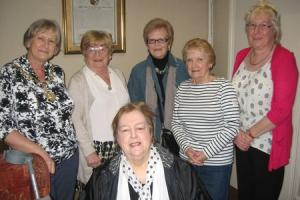 Deputy mayor Trish Minson with the Manager and some of the residents of Earle's Retreat
