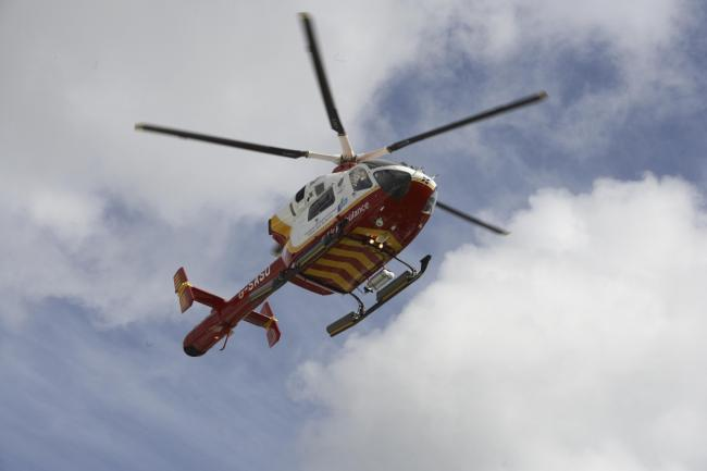 The air ambulance landed on the A30 after a crash between Hayle and Camborne. File image.