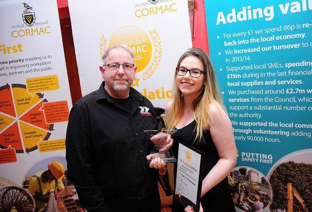 Gemma accepting her award, with Steve Jenkin from sponsor, Euro Tool