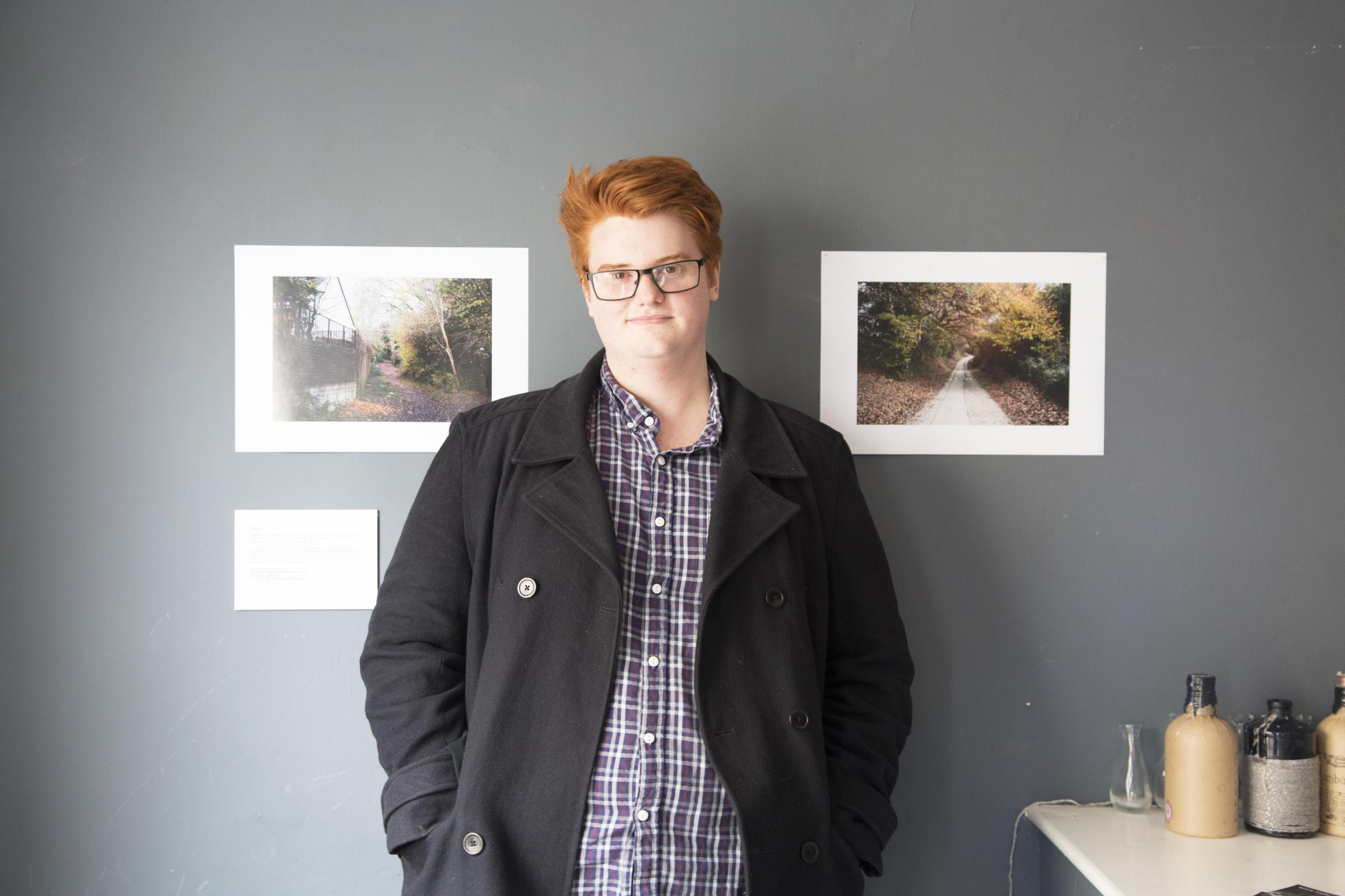 Jason Parsons and his most recent photographic exhibition, Paths, at Sonders Café Bar, Truro