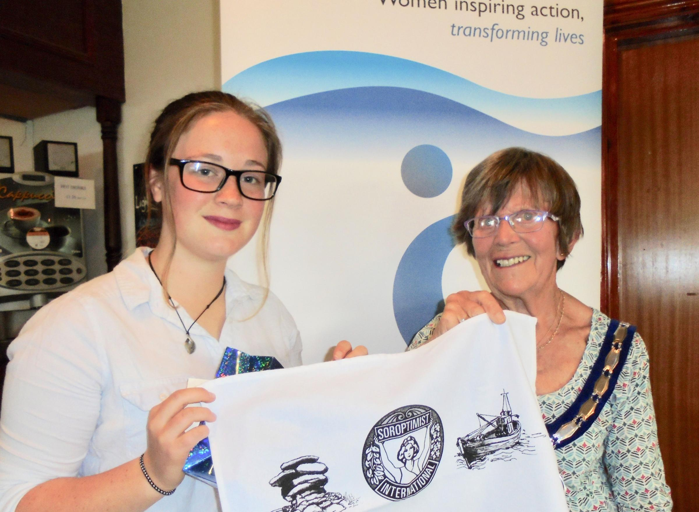 Kathryn Godddard with St Austell Soroptimists' joint president Mary Weston