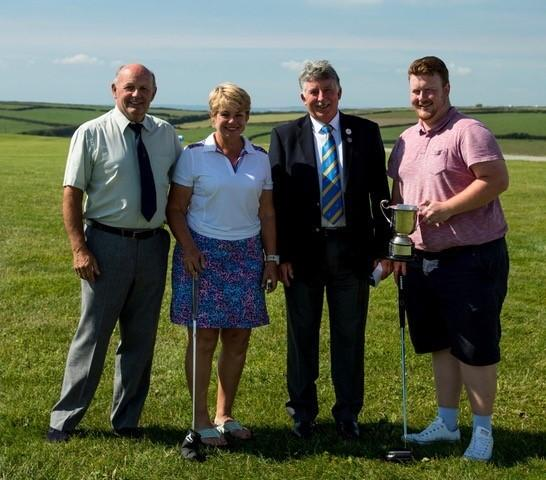 From left at Mullion Golf Club is President Ben Willey, Margaret Thomas, club captain Wilf Hutchinson and Tom Neal