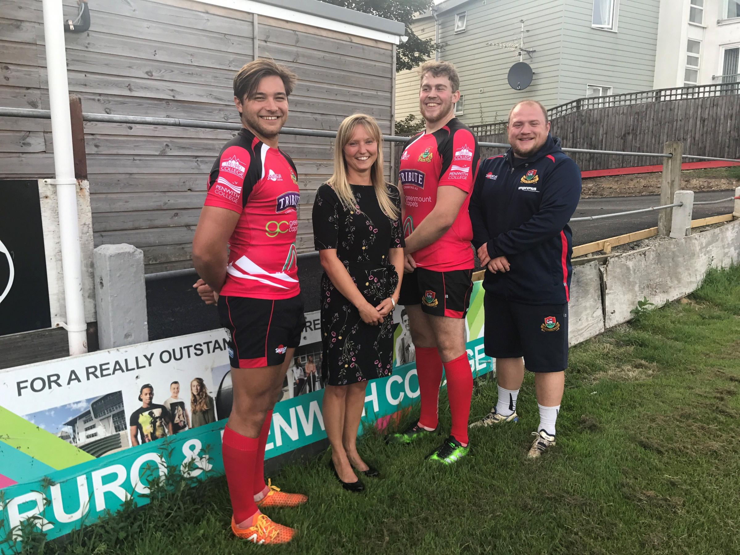 Players from Redruth Rugby Club unveiled their new kit to the college's sport team leader, Vicky Pearson, this week.