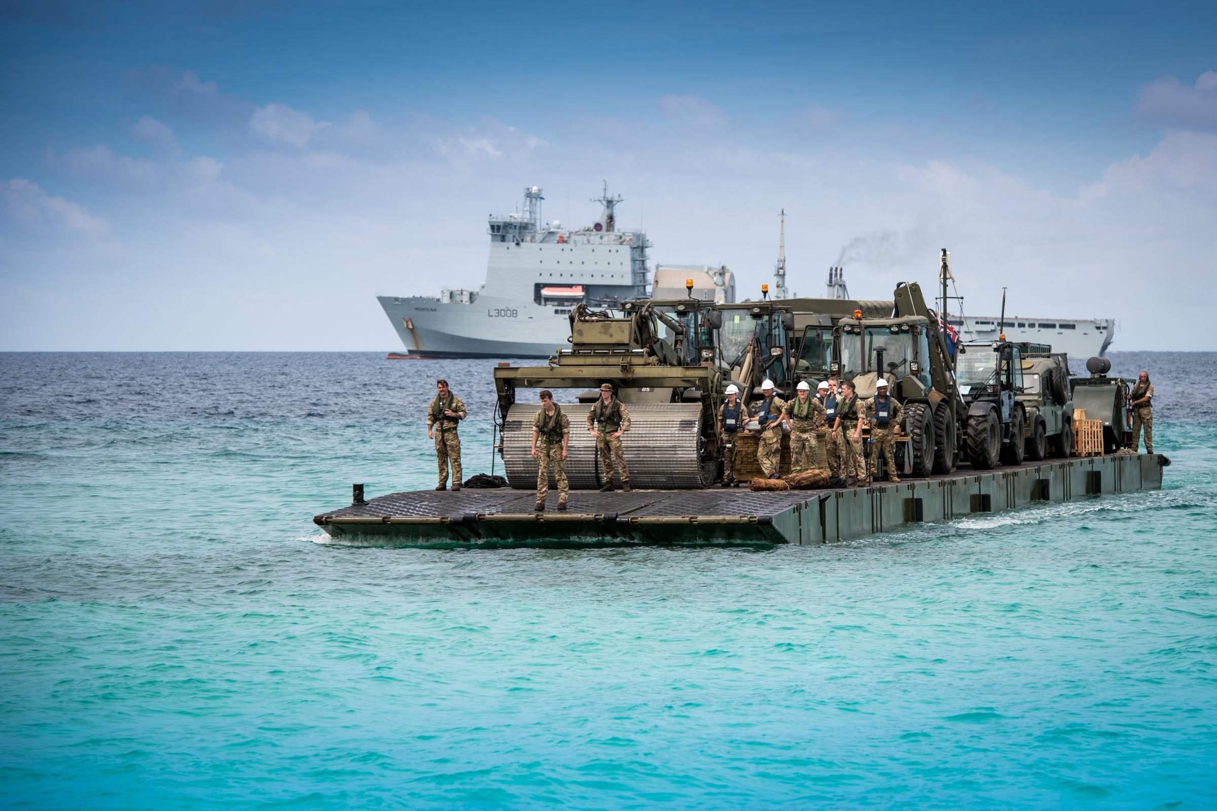 A  Mexiflote from RFA Mounts Bay carrying equipment and troops ashore to Grand Turk. Photo: MOD