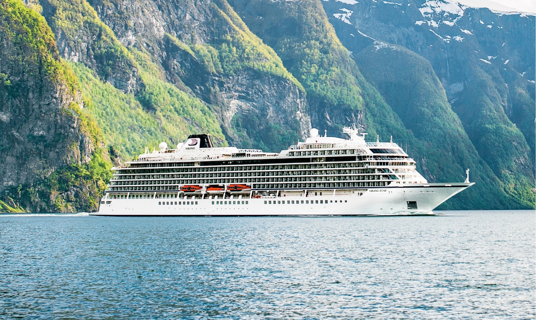 Viking Star at Flam, Noway, Credit: Viking Cruises.