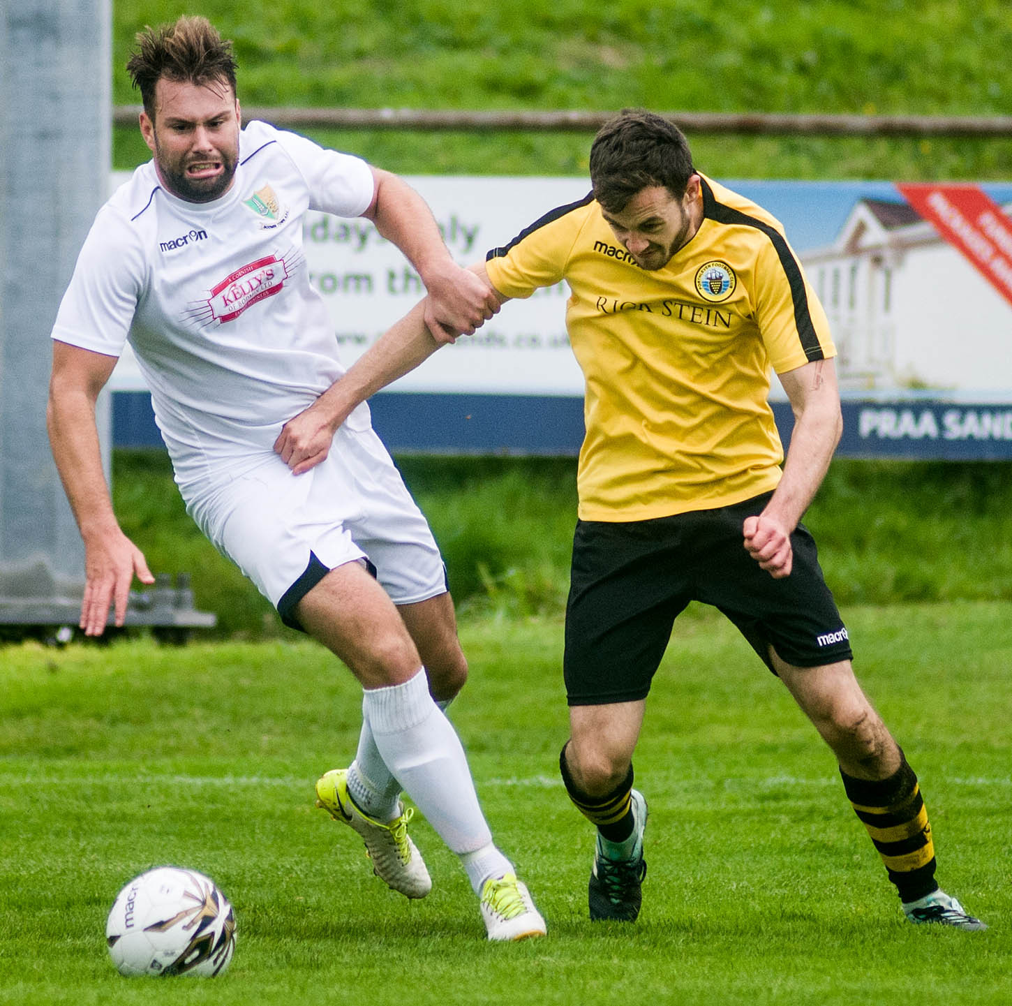 Dan Hindmarch (right), who scored a spectacular goal for Porthleven on Saturday