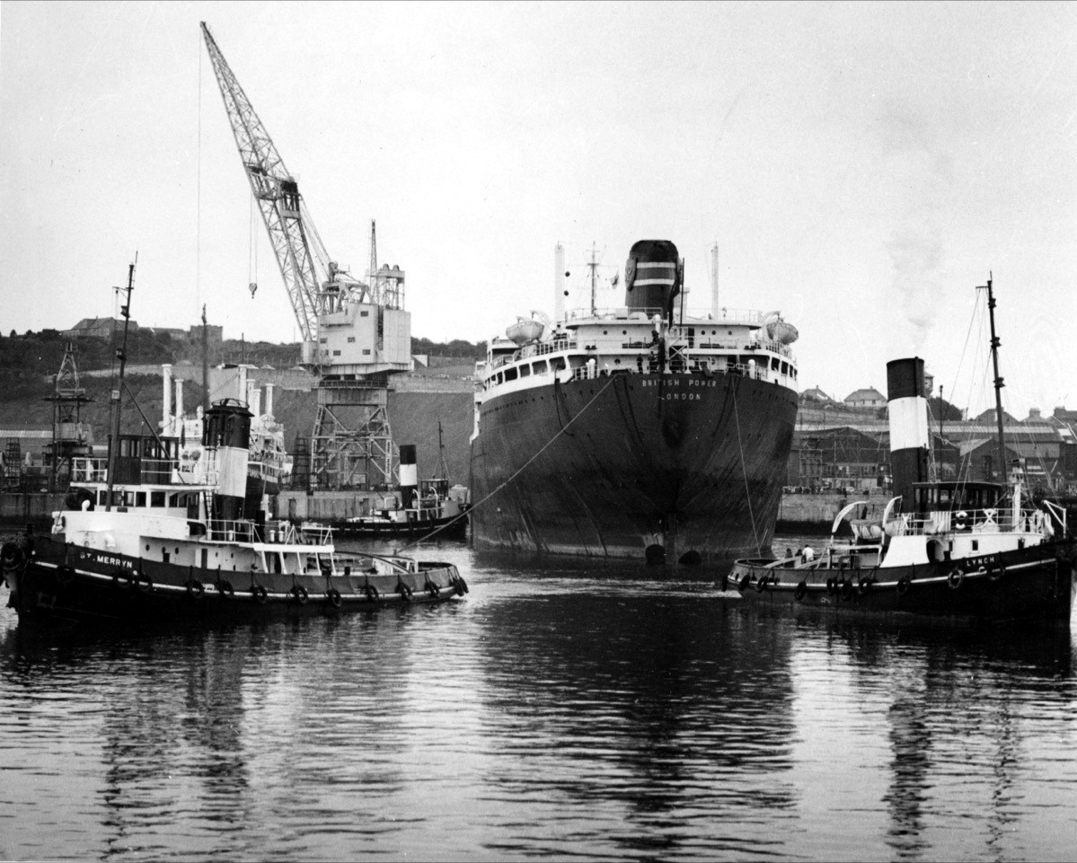 Lynch (right) with her familiar tall funnel assists the BP Tanker British Power in the 1960s. Here she is pictured with two of the Cornish Saints from the Falmouth Towage fleet St Agnes and St Merryn. Photo: David Barnicoat Collection