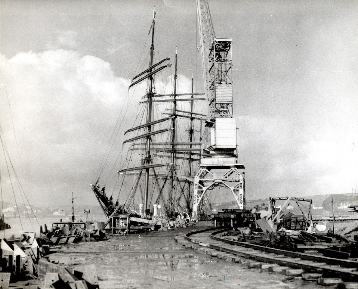 German four masted barque Pamir pictured alongside County wharf in January 1957. The construction of the wharf was completed later that year.