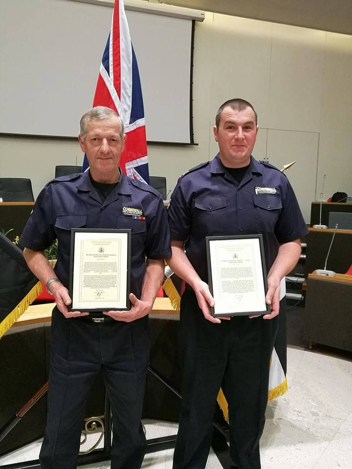 Firefighter Keith Pascoe and crew manager Steven Hiorns from St Keverne collect their chief fire officer commendations
