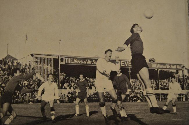 Action from Falmouth Town's historic 1963 FA Cup tie against Oxfored United