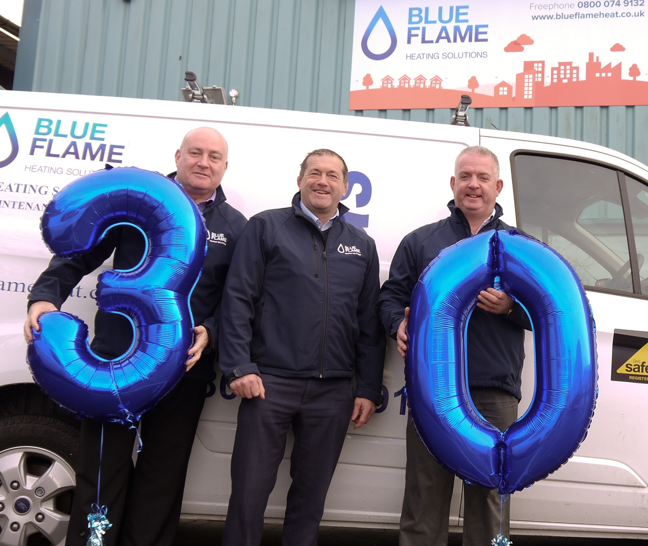 Birthday Boys - Blue Flame directors (l-r) Simon Foxhall, Paul Smith and Mark Bolitho get ready to mark the company's 30th anniversary