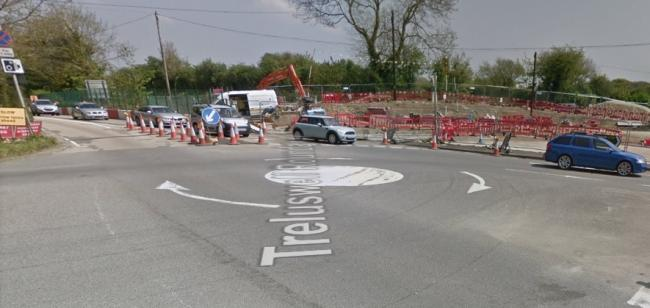 Work started on the Treluswell Roundabout last year. Picture Google Maps