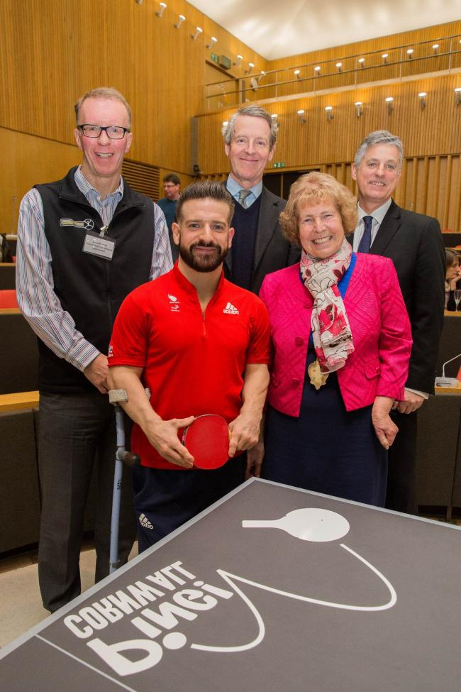 Mike Thomas, director at Cornwall Sports Partnership; Lord Lieutenant of Cornwall Colonel Edward Bolitho; Peter Bundey, chair of the GLL Sports Foundation. Front: David Wetherill, Paralympic table tennis player and Mary May, chairman of Cornwall Council