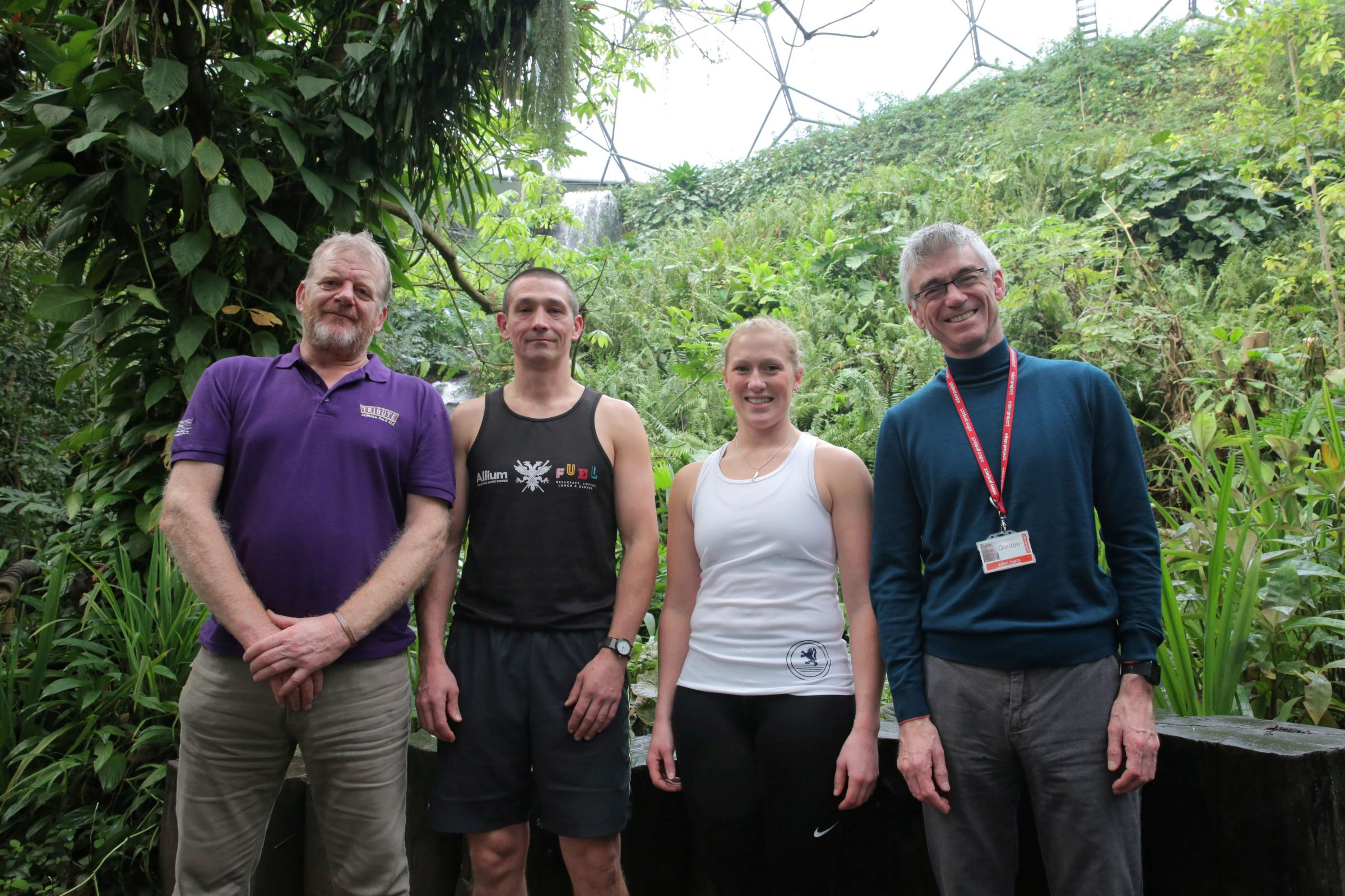 :  From left, Shane Sullivan, Chair of the CPGA trustees, Simon Moses of Falmouth Pilot Gig Club, Kate Bourn of Caradon Gig Club and Eden Chief Executive Gordon Seabright, in the Rainforest Biome at Eden.