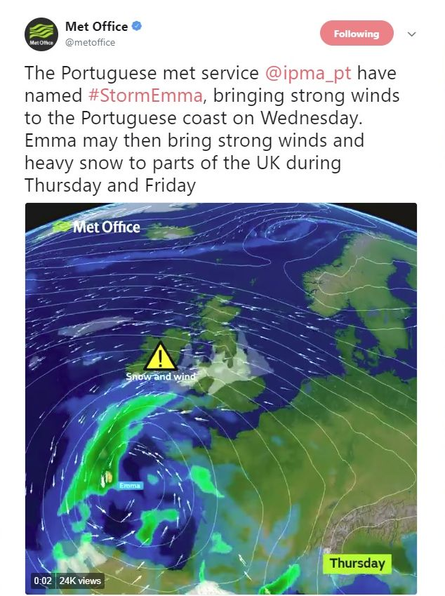 Tail end of Storm Emma looks likely to hit the end of this week