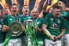 Ireland's Rory Best celebrates with the trophy after winning the Grand Slam (Gareth Fuller/PA)